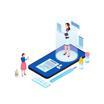 Ilustração isométrica de consulta médica on-line
