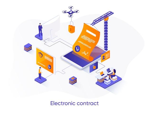 Ilustração isométrica de contrato eletrônico com personagens de pessoas