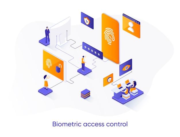 Ilustração isométrica de controle de acesso biométrico com personagens de pessoas
