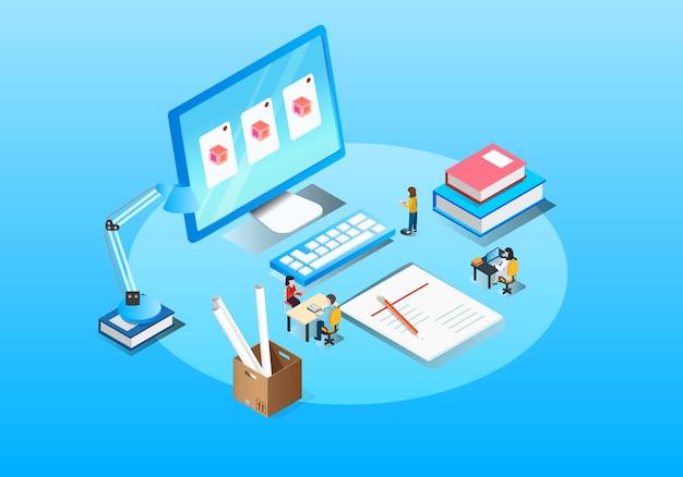 Ilustração isométrica de cooperação de escritório de negócios
