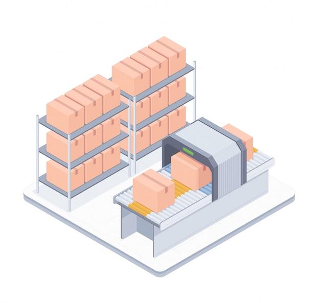 Ilustração isométrica de correia transportadora de embalagem automatizada