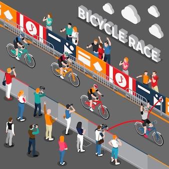 Ilustração isométrica de corrida de bicicleta