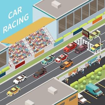 Ilustração isométrica de corrida de carro com vista externa de carros de corrida na pista com público nos assentos.