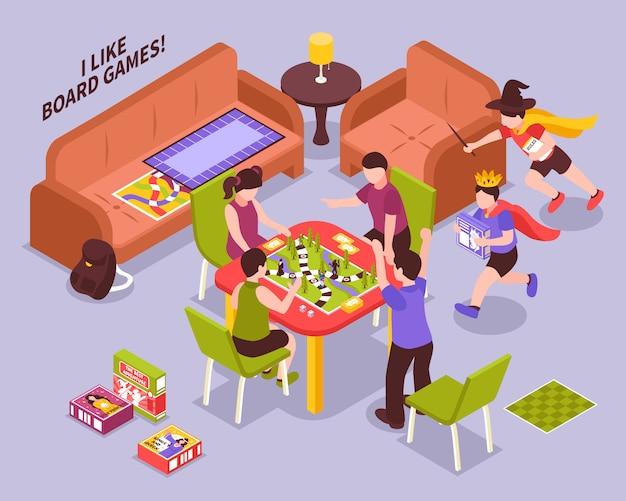 Ilustração isométrica de crianças de jogos de tabuleiro
