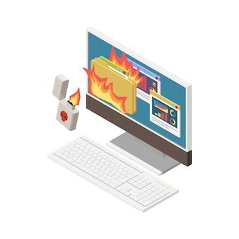 Ilustração isométrica de crime digital com um isqueiro queimando informações pessoais no computador