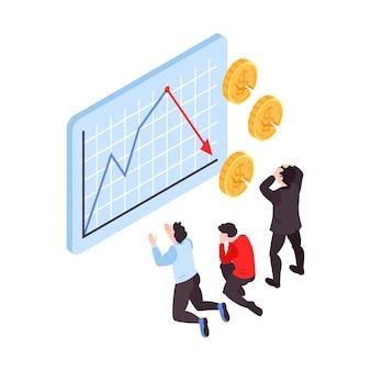 Ilustração isométrica de crise financeira com pessoas frustradas assistindo ao gráfico de queda do mercado de ações