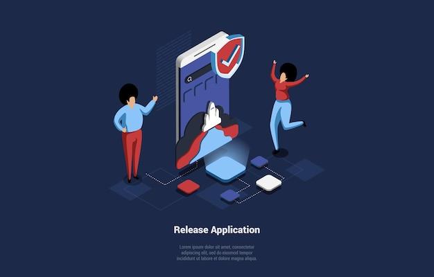 Ilustração isométrica de desenho animado com conceito de pesquisa, desenvolvimento e lançamento de aplicativo móvel
