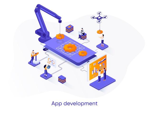 Ilustração isométrica de desenvolvimento de aplicativo com personagens de pessoas