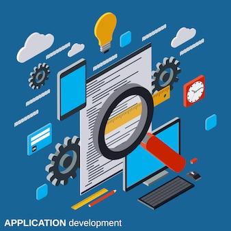 Ilustração isométrica de desenvolvimento de aplicativo