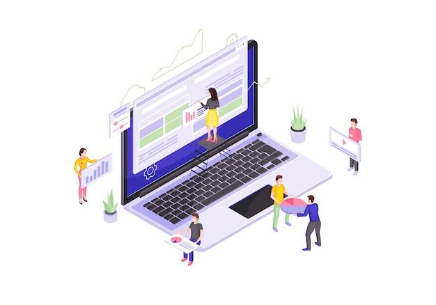 Ilustração isométrica de design e desenvolvimento web