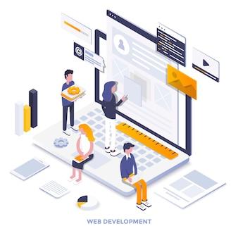 Ilustração isométrica de design moderno plana de desenvolvimento web. pode ser usado para website e website para celular ou página de destino. fácil de editar e personalizar. ilustração vetorial