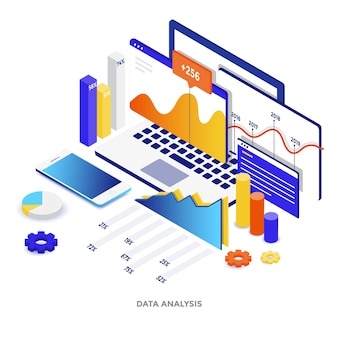 Ilustração isométrica de design plano moderno de análise de dados. pode ser usado para website e website para celular ou página de destino. fácil de editar e personalizar. ilustração vetorial