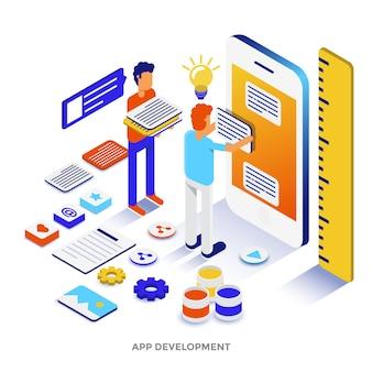 Ilustração isométrica de design plano moderno de desenvolvimento de aplicativos. pode ser usado para website e website para celular ou página de destino. fácil de editar e personalizar. ilustração vetorial