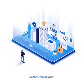 Ilustração isométrica de design plano moderno de realidade aumentada