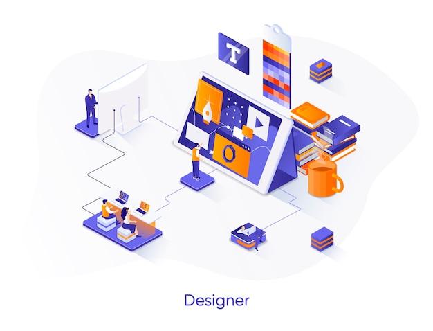Ilustração isométrica de designer com personagens de pessoas