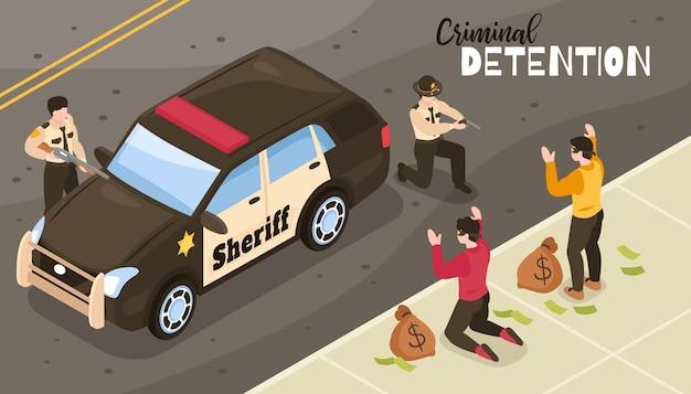 Ilustração isométrica de detenção criminal