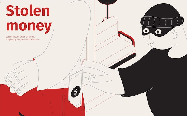Ilustração isométrica de dinheiro roubado