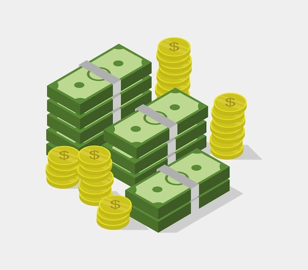 Ilustração isométrica de dinheiro