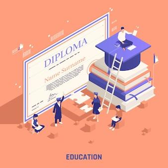 Ilustração isométrica de diploma de ensino oficial