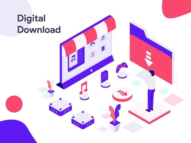 Ilustração isométrica de download digital