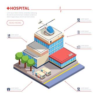Ilustração isométrica de edifício de hospital