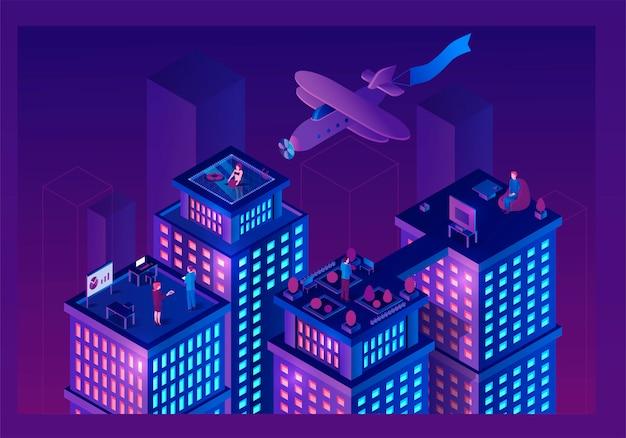 Ilustração isométrica de edifícios inteligentes