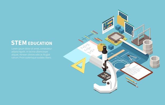Ilustração isométrica de educação stem com microscópio eletrônico de ciências naturais, blocos de construção de engenharia, caderno de matemática