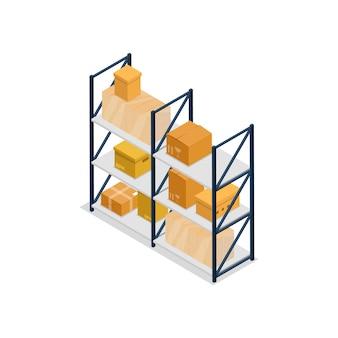 Ilustração isométrica de elemento interior de prateleiras de armazém