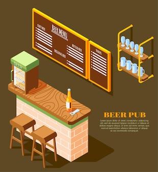 Ilustração isométrica de elementos de interior de pub de cerveja com abridor de garrafas de suporte de vidro em painel de menu