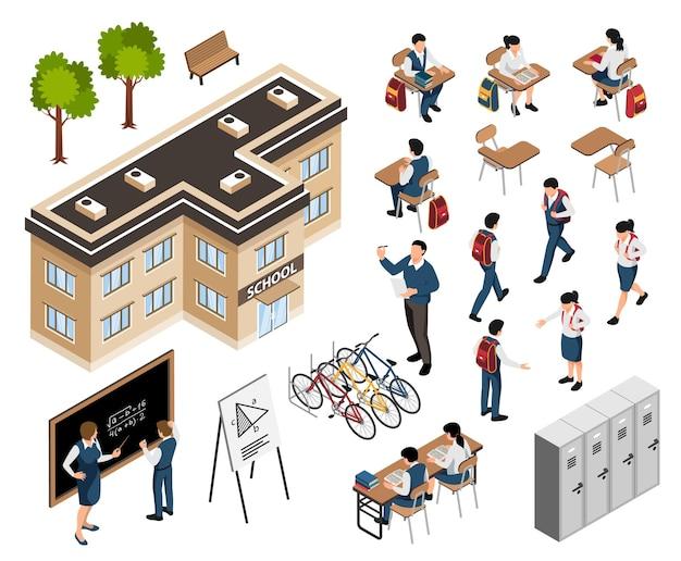 Ilustração isométrica de elementos escolares