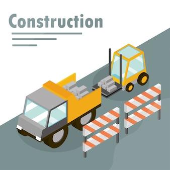 Ilustração isométrica de empilhadeira de construção em caminhão basculante