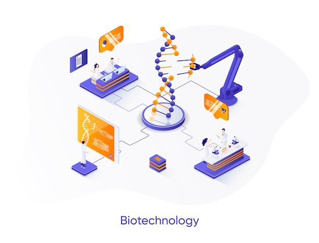 Ilustração isométrica de empresa de biotecnologia com personagens de pessoas
