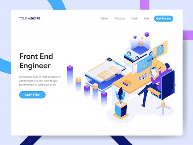 Ilustração isométrica de engenheiro front-end para a página do site