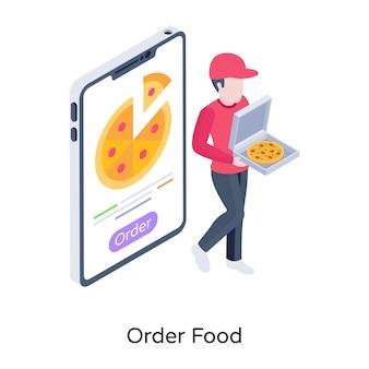 Ilustração isométrica de entrega de pizza on-line de comida pedido online