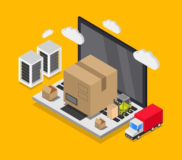 Ilustração isométrica de entrega online
