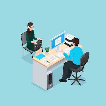 Ilustração isométrica de entrevista de emprego
