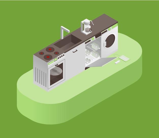 Ilustração isométrica de equipamentos de cozinha e eletrodomésticos.