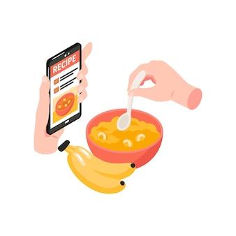 Ilustração isométrica de escola de culinária com mãos humanas segurando uma colher e um smartphone com a receita