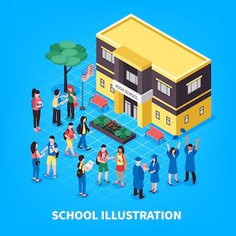 Ilustração isométrica de escola