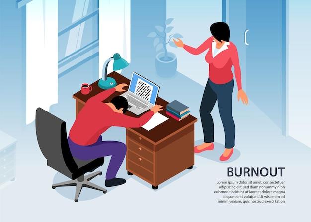 Ilustração isométrica de esgotamento profissional com visão interna de um homem cansado na mesa de trabalho