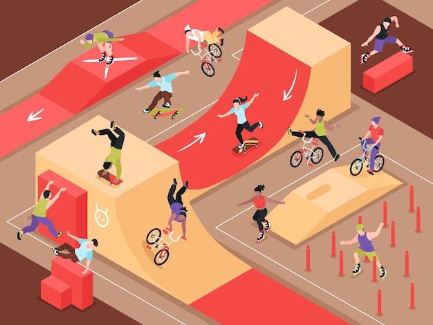 Ilustração isométrica de esporte radical urbano com adolescentes andando de patins e de bicicleta na rampa de skate da cidade