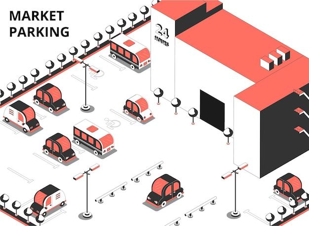 Ilustração isométrica de estacionamento de mercado com texto