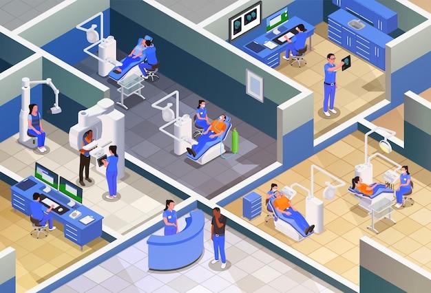 Ilustração isométrica de estomatologia com atendimento clínico e tratamento