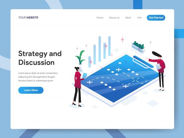 Ilustração isométrica de estratégia e discussão para a página do site
