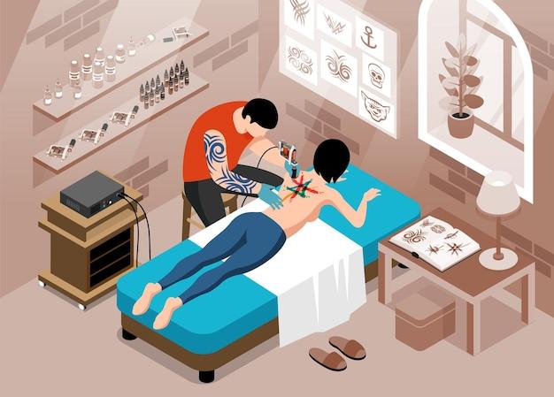 Ilustração isométrica de estúdio de tatuagem