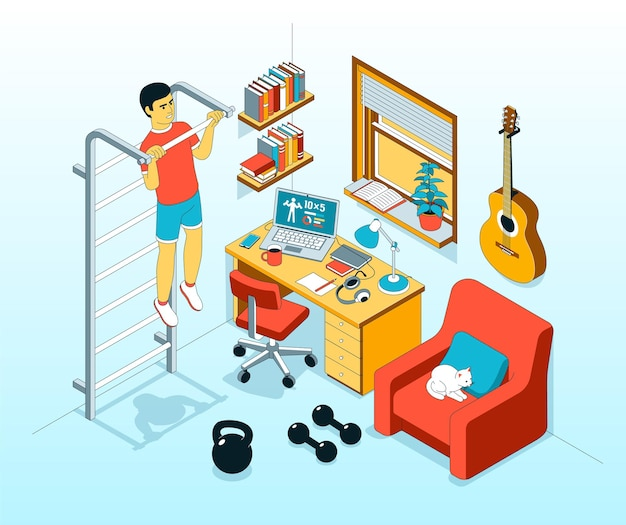 Ilustração isométrica de exercício em casa