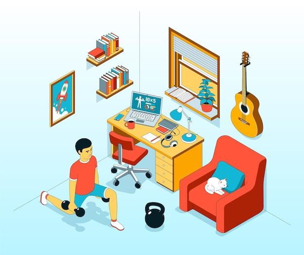 Ilustração isométrica de exercícios de treino em casa com halteres