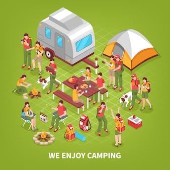 Ilustração isométrica de expedição camping