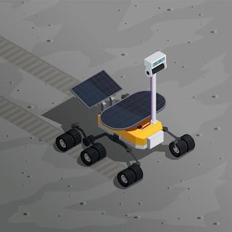 Ilustração isométrica de exploração de marte com imagem de rover robótico, movendo-se na superfície do planeta