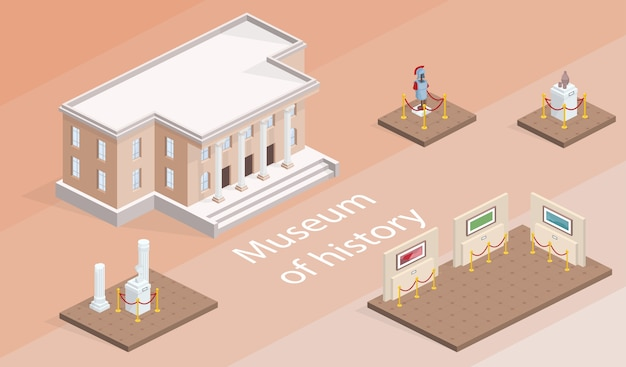 Ilustração isométrica de exposição de museu